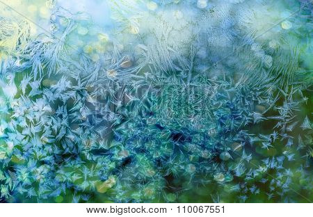 Ice patterns on winter glass.Winter background