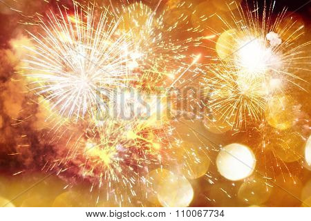 Fireworks at New Year and copy space