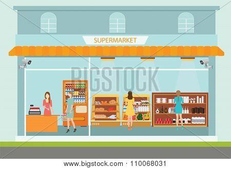 Supermarket Building And Interior.