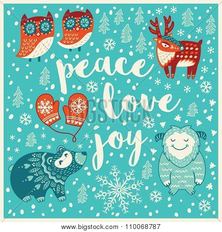 Greeting Holiday card with yeti, bear, owls and deer