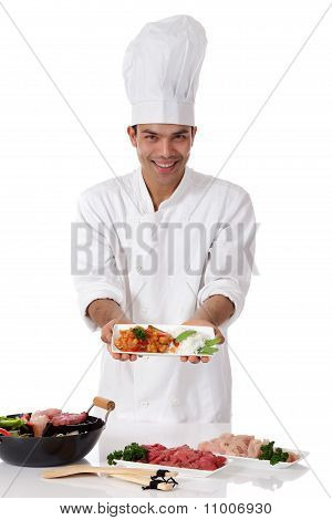 Young Nepalese Man Chef, Oriental Food