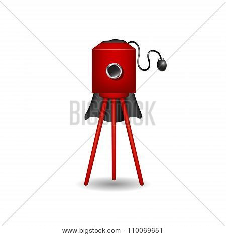 Vintage camera in red design with shadow
