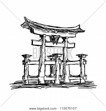 Illustration Vector Doodle Hand Drawn Of Sketch Itsukushima Shrine Landmark In Japan, Isolated On Wh