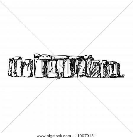 Illustration Vector Doodle Hand Drawn Of Sketch Stonehenge Isolated.