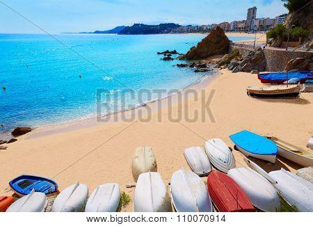 Lloret de Mar Sa Caleta beach in costa Brava of Catalonia Spain