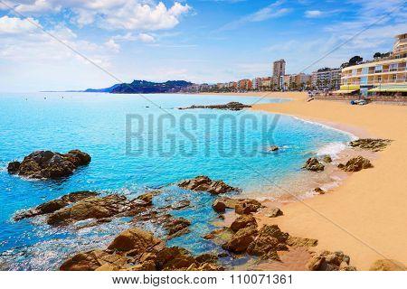 Lloret de Mar beach in costa Brava of Catalonia Spain