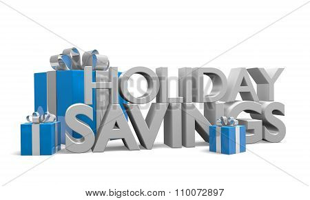 Holiday Savings 3D text and blue gift boxes tied with silver ribbons