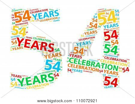 Colorful word cloud for celebrating a 54 year birthday or anniversary