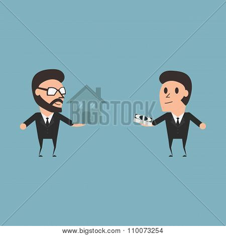 Marketing Conceptual Seller And Buyer Flat Desing Illustration.