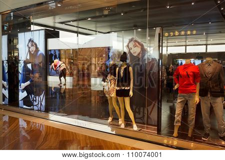 SINGAPORE - NOVEMBER 08, 2015: interior of Armani Exchange store. Armani Exchange is retails fashion and lifestyle products and is known for its occasionally provocative ad campaigns.