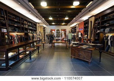 SINGAPORE - NOVEMBER 08, 2015: interior of True Religion Brand Jeans. True Religion Brand Jeans is an American clothing company. Based in Vernon, California.