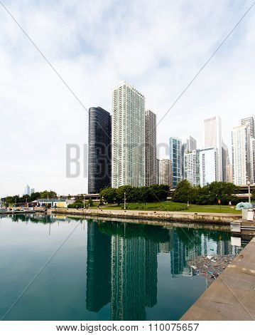Apartment buildings on the water