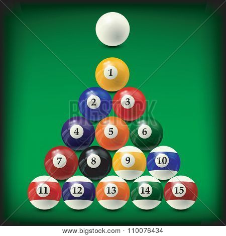 billiard balls set - realistic vector design