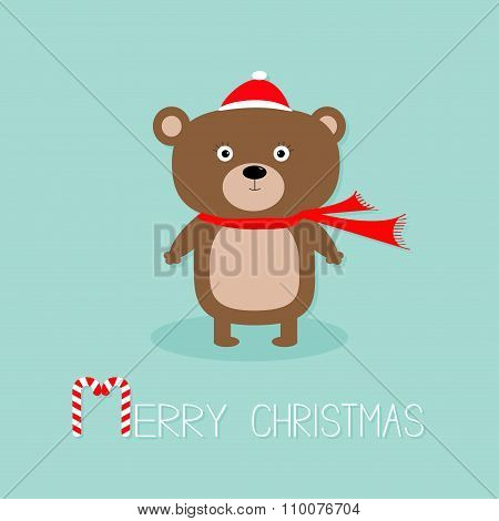 Cute Brown Bear In Santa Claus Hat And Scarf. Candy Cane. Merry Christmas Greeting Card. Blue Backgr