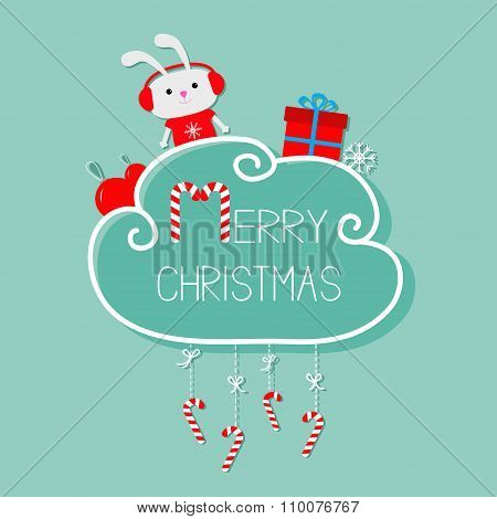 Rabbit In Headphones, Giftbox, Snowflake, Ball. Merry Christmas Card. Hanging Candy Cane. Dash Line