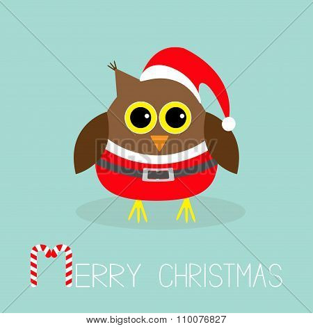 Cute Owl In Santa Claus Costume, Hat. Snowflakes. Merry Christmas Card. Flat Design.