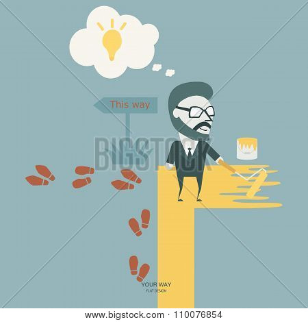 Make A Different. Business Conceptual Stand Out From Crowd. Flat Illustration.