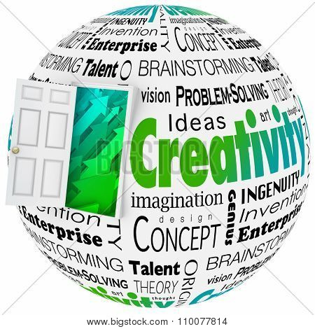 Creativity word in a collage with open door to arrows symbolizing growth, including brainstorming, innovaiton, invention, vision and problem-solving