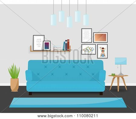 The modern interior design in turquoise colors. The cozy living room