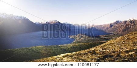 Marvelous View Lake Wakitipu Mountain Range Nature Concept