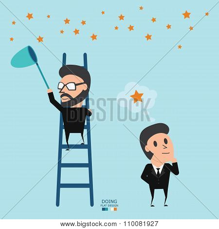 Key To Success Is Doing. Doing Better Than Thought. Business Concept. Flat Illustration.