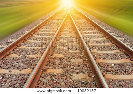 Railroad For Transportation With Motion Blur, Transport Railway
