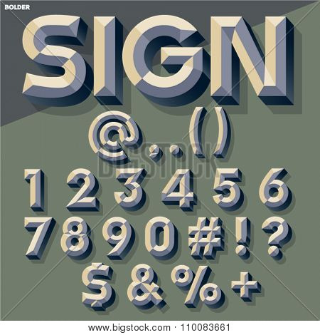 Vector set of old school simple bold beveled numbers and symbols. Simple colored version