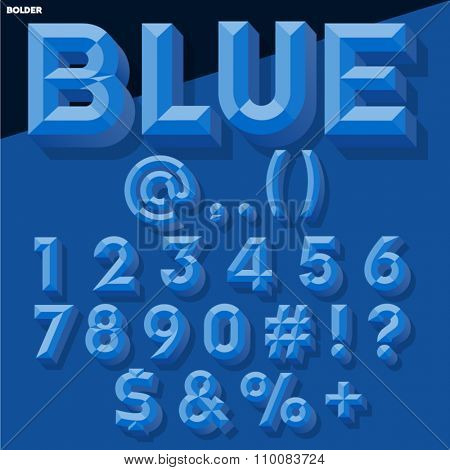Vector 3D blue set of simple bold beveled numbers and symbols with shadow. Simple colored version.