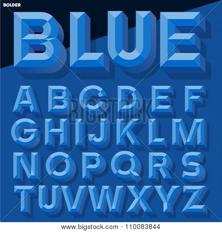 Vector 3D blue simple bold beveled alphabet with shadow. Simple colored version.