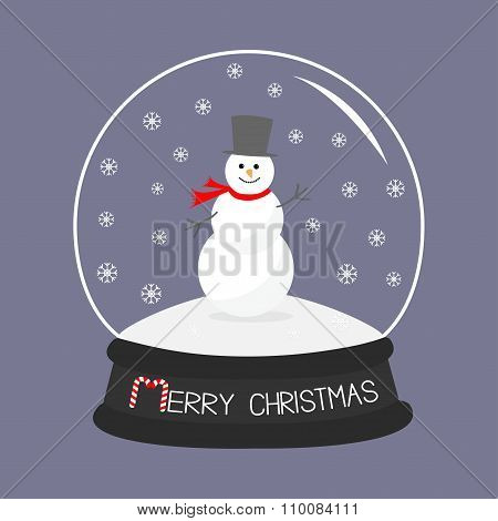 Cartoon Snowman On Snowdrift  Crystal Ball With Snowflakes.  Violet Background. Merry Christmas Card