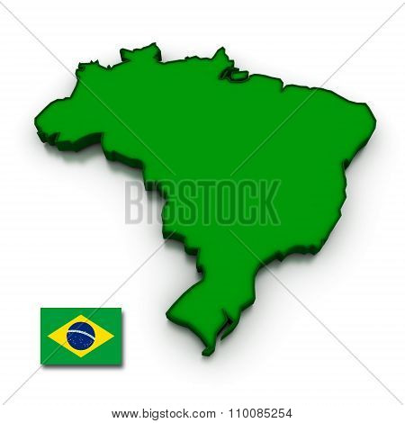 Brazil Map And Flag