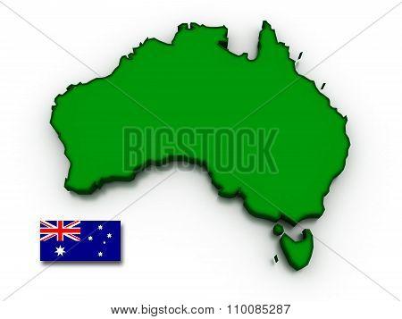 Australia Map And Flag