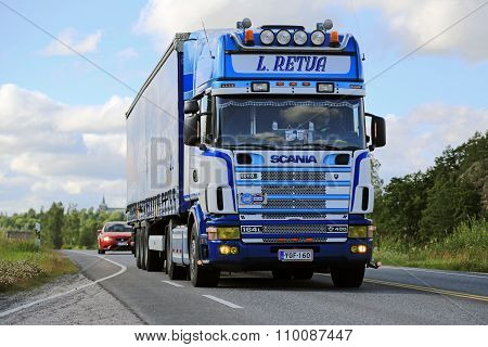 Scania 164L Semi Truck On The Road At Summer