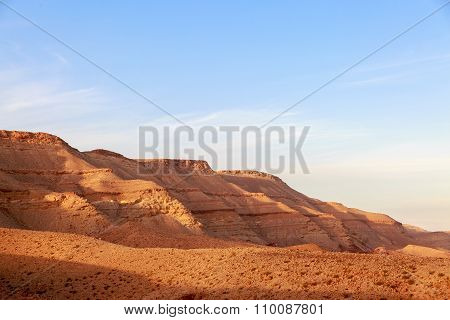 The Majestic Panorama Of Mountains Surrounding Of Big Crater (hamakhtesh Hagadol) In Israel