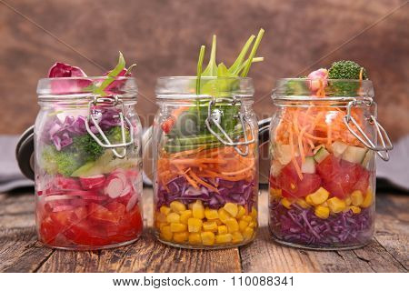 colorful salad in jar
