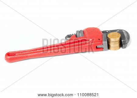 One Red Monkey Wrench With A Gold Coins