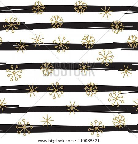 Stylish seamless snowflake pattern. Vector background with hand drawn gold snowflakes on black striped background. Retro style design for paper, scrapbooking, textile design
