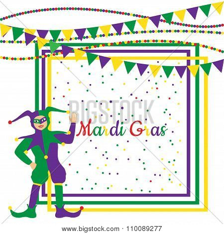 Mardi Gras Party Frame with harlequin