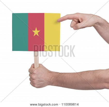 Hand Holding Small Card - Flag Of Cameroon