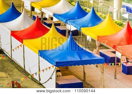 Top Of A Colorful Tent For Large Events