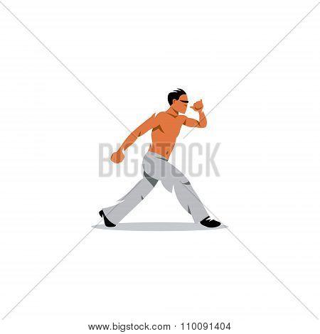 Capoeira fighter. Vector Illustration.