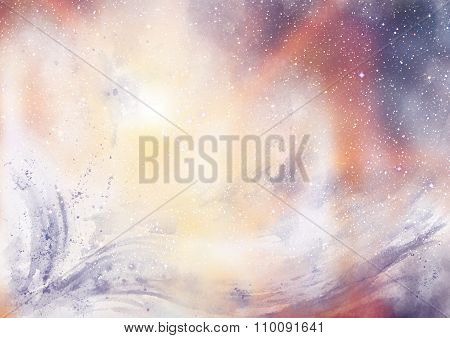 Blurry Watercolor Background with Star Texture