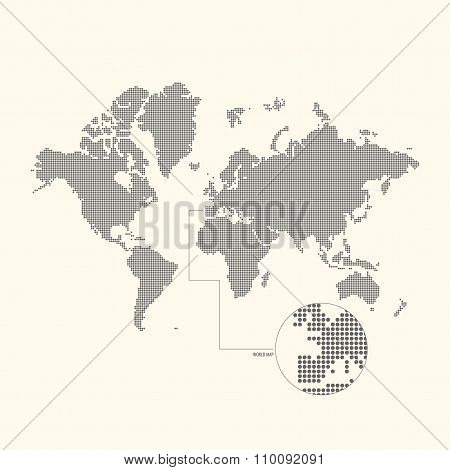 Dotted World Map. Vector Illustration.
