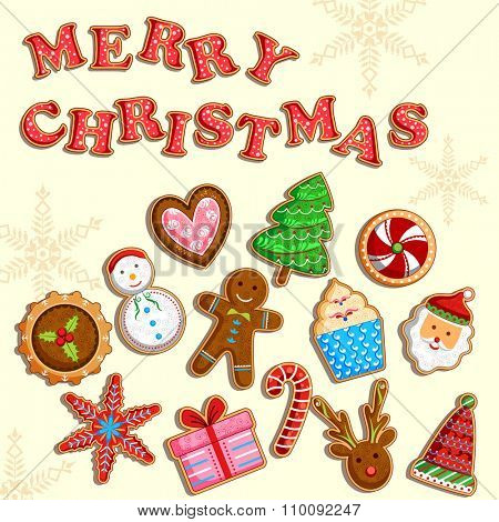 illustration of assorted cookies in floral Christmas holiday background