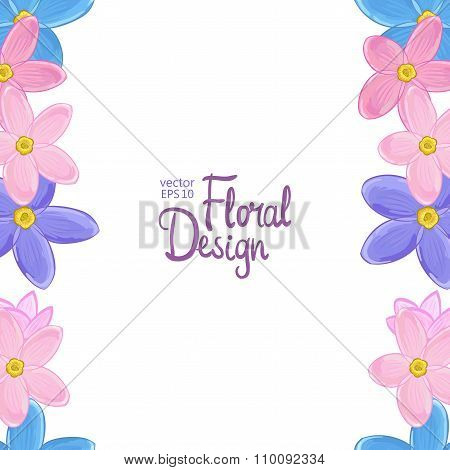 Vector border with forget-me-not flowers