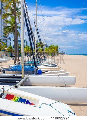 Sailboats for rent at Fort Lauderdale beach in Florida on a beautiful summer day