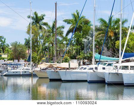 View of anchored sailboats at a marina in Fort Lauderdale, Florida