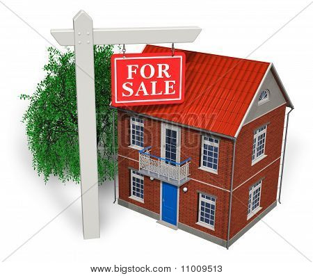 """For sale"" sign in front of new house"