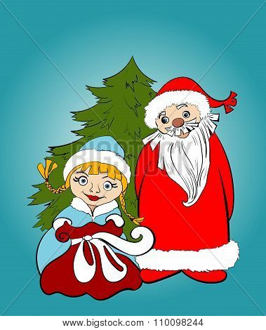 Christmas card. Santa and Snow Maiden  with gifts
