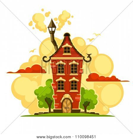 Fairy-tale house over sunset clouds. vector illustration. Isolated on white background. Transparent objects used for lights and shadows drawing.